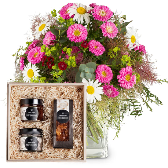 "Natural Summer Bouquet with honeybox ""Sweet temptation"""