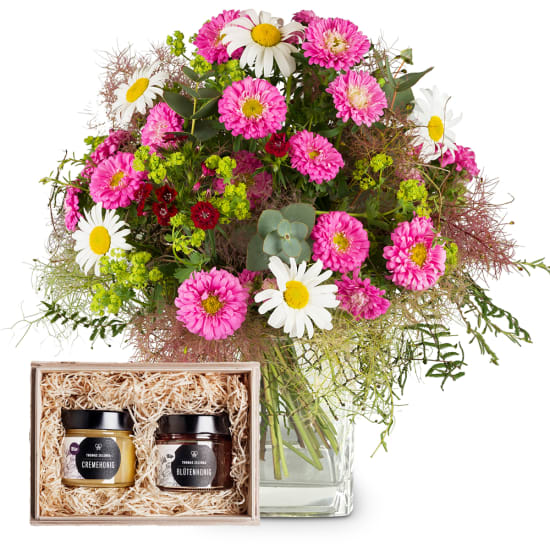 """Natural Summer Bouquet with honeybox """"Fine Duo"""""""