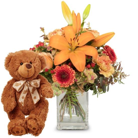 Harmony of Lilies with teddy bear (brown)