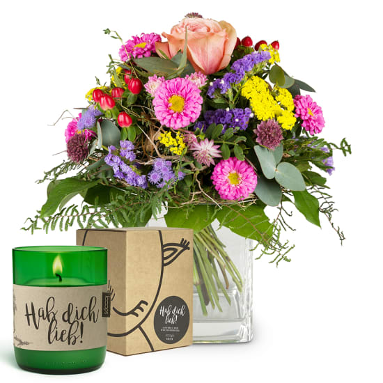 """Little flower message with LOOOPS candle """"Hab dich lieb"""""""