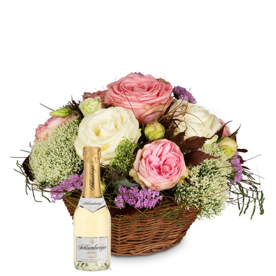 A Basket full of Poetry with Roses with Schlumberger Sparkling brut Piccolo 0,2 L