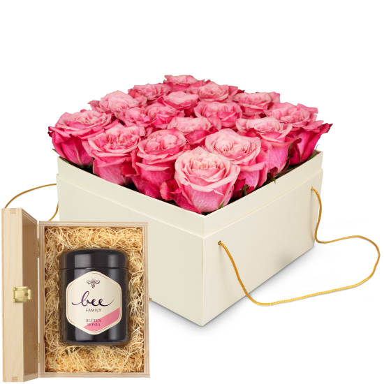 Flowerbox «Lucerne»  (20 cm) with Swiss blossom honey