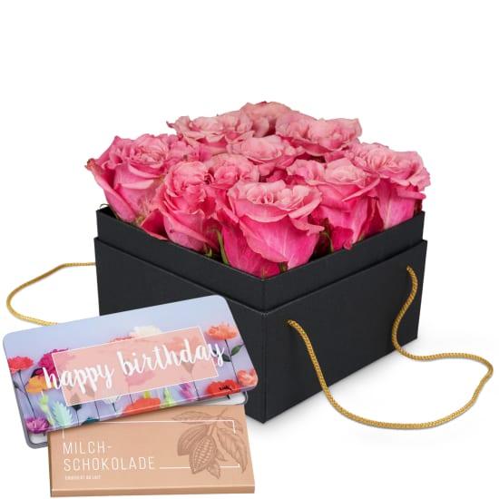 Boîte à fleurs «Lisbon» (15 cm) avec tablette de chocolat «Happy Birthday»