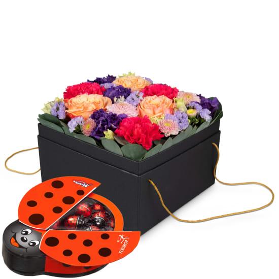 Blumenbox «Amsterdam» (20 cm) mit Schoggi-Glückskäfer