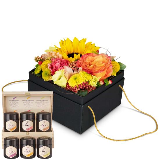 Blumenbox «Cuzco» (15 cm) mit Honig Geschenk-Set