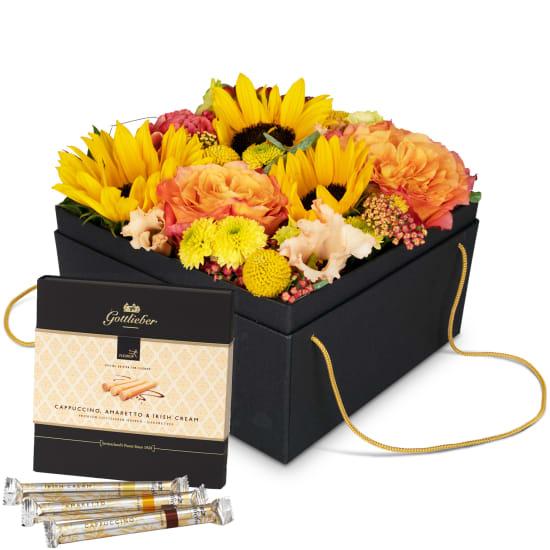 "Flowerbox «Cuzco» (20 cm) with Gottlieber Hüppen ""Special Edition for Fleurop"""