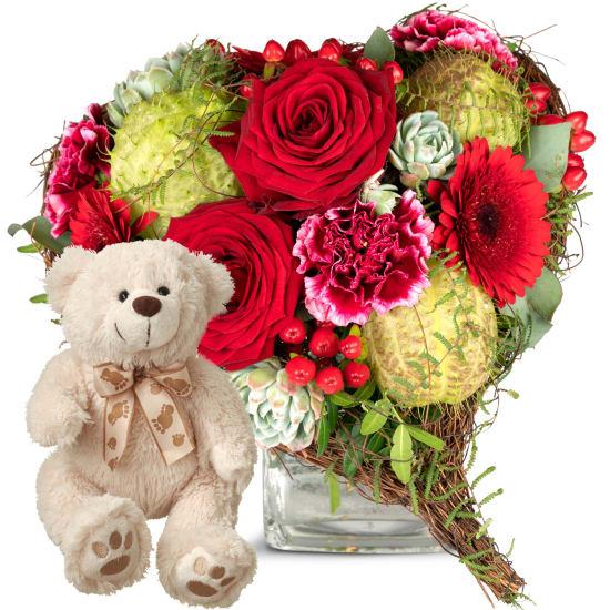 Nur für dich, mit Teddybär (weiss)