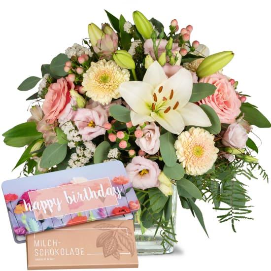 """Lilien-Prinzessin mit Schoggi-Tafel """"Happy Birthday"""""""