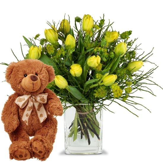 Sunny spring composition with teddy bear (brown)