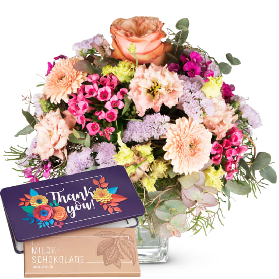 """May Bouquet of the Month with bar of chocolate """"Thank you"""""""