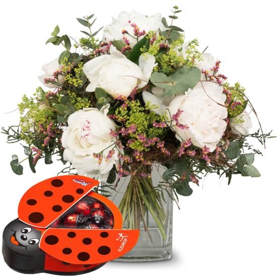 Magical Peonies with chocolate ladybird