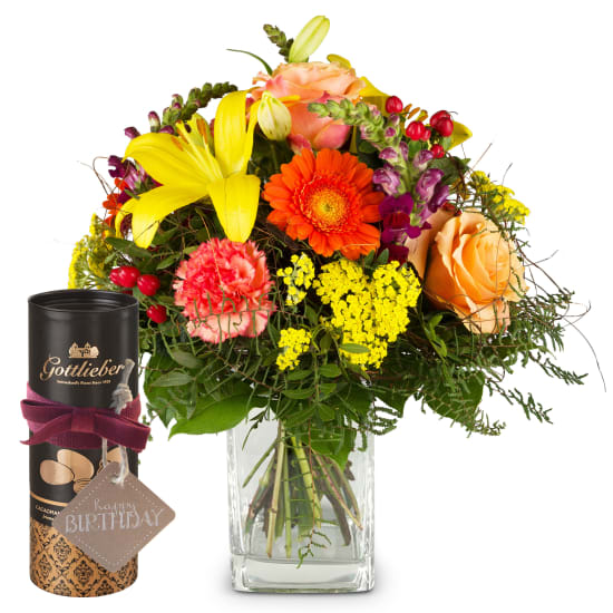 Summer Star with Gottlieber cocoa almonds and hanging gift tag «Happy Birthday»