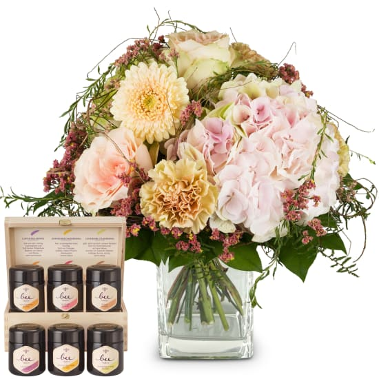 Romantic Hydrangea Bouquet with honey gift set