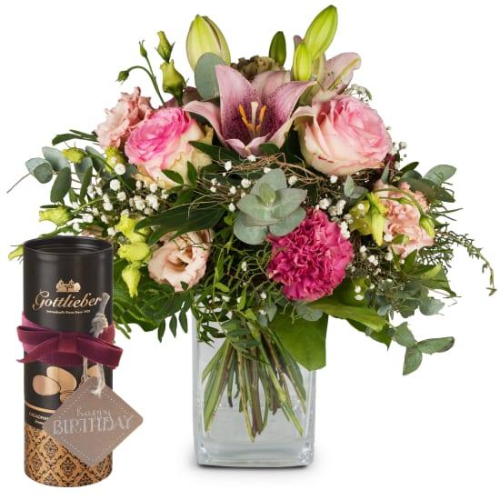 Lilien-Zauber mit Gottlieber Cacaomandeln und «Happy Birthday»-Anhänger