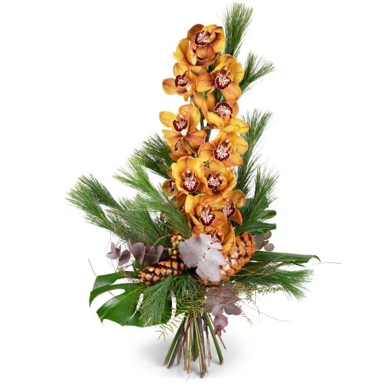 Winterliches Orchideenbouquet