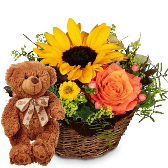 Sonniges Küsschen mit Teddybär (braun)