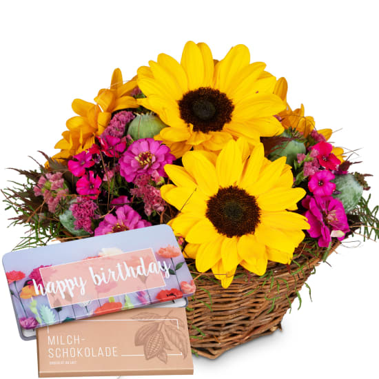 Sunny Day avec tablette de chocolat «Happy Birthday»