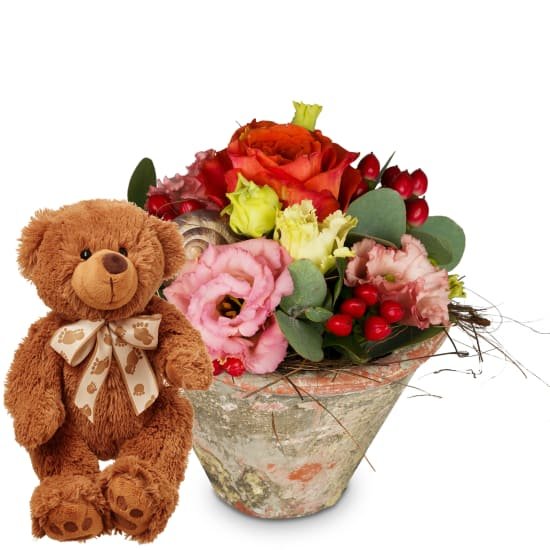 """Blumiges """"Küsschen"""" mit Teddybär (braun)"""
