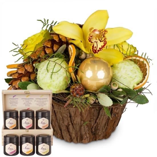 Magie festive d'hiver avec coffret cadeau de miel