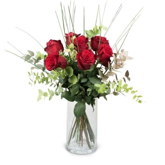 7 Red Roses with greenery