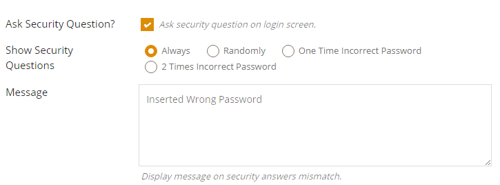 Security Question Display Settings