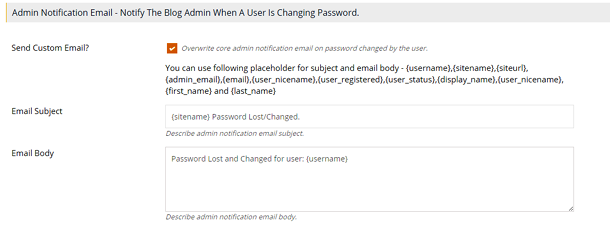Admin Notification Password Change