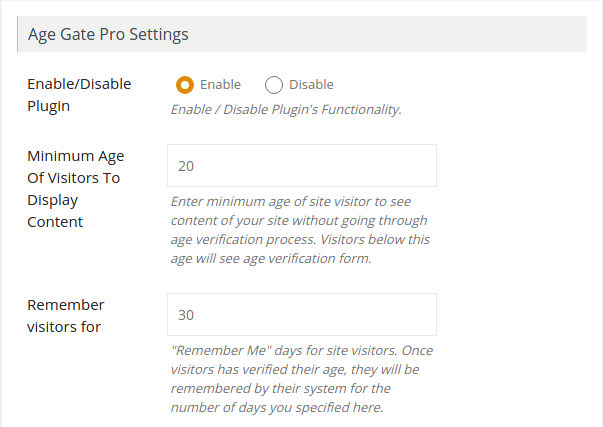 Age Gate Pro Settings