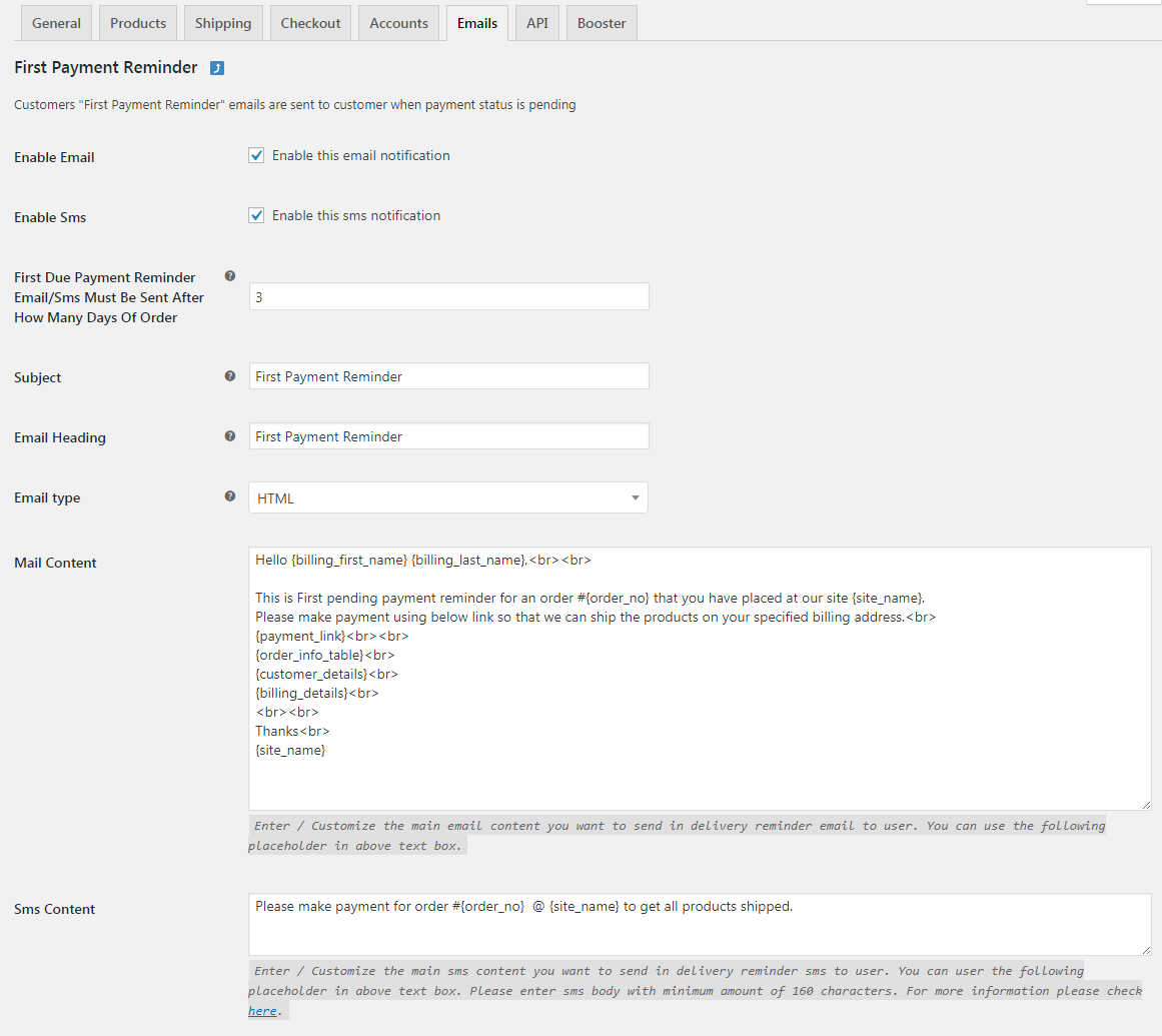 Customize SMS Content