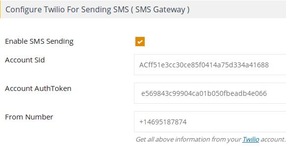 Configure Twilio SMS Gateway