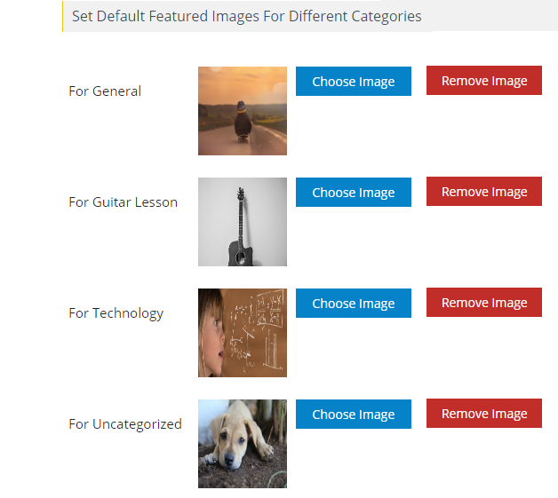 Default Featured Image for Post Categories