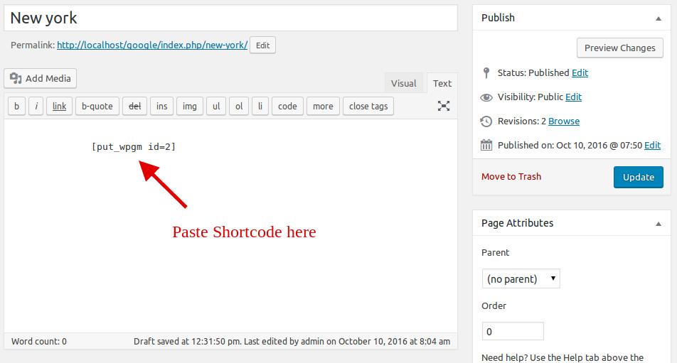 Shortcode Paste Wpmapspro