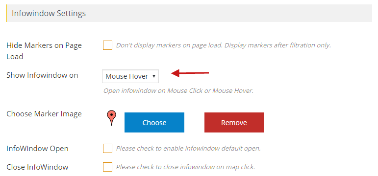 How to show info window of the map on Mouse Hover Wpmapspro