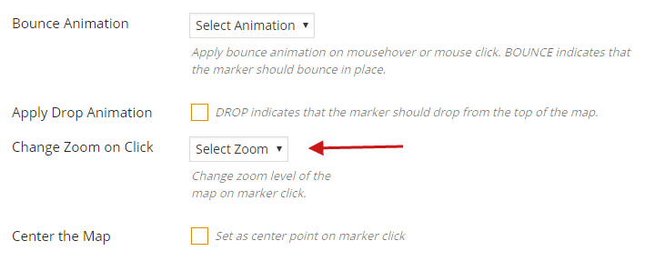 How to Change zoom level of the map on marker click Wpmapspro