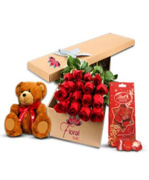 12 Red Roses Teddy & Chocolate