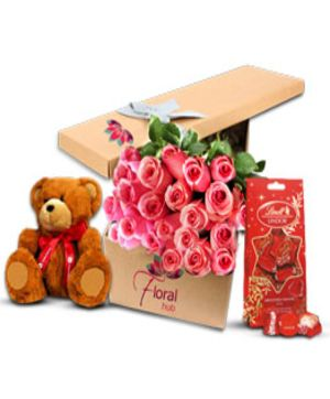 36 Pink Roses Teddy & Chocolate
