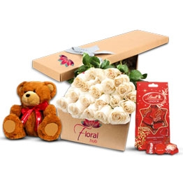 36 White Roses Teddy & Chocolate