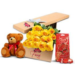 36 Yellow Roses Teddy & Chocolate
