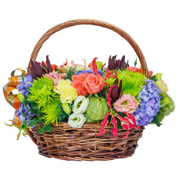 Colorful Carnation Basket