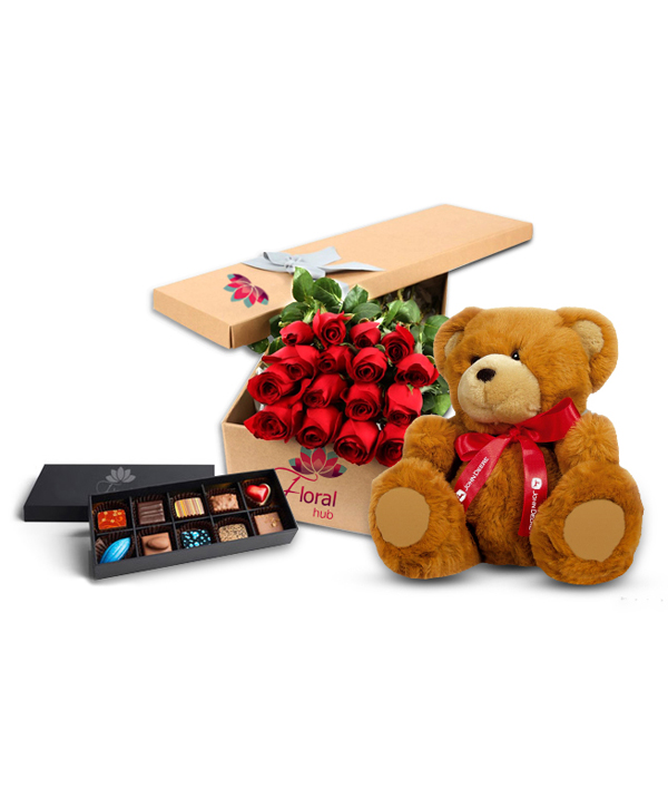12 Roses Teddy & Chocolate