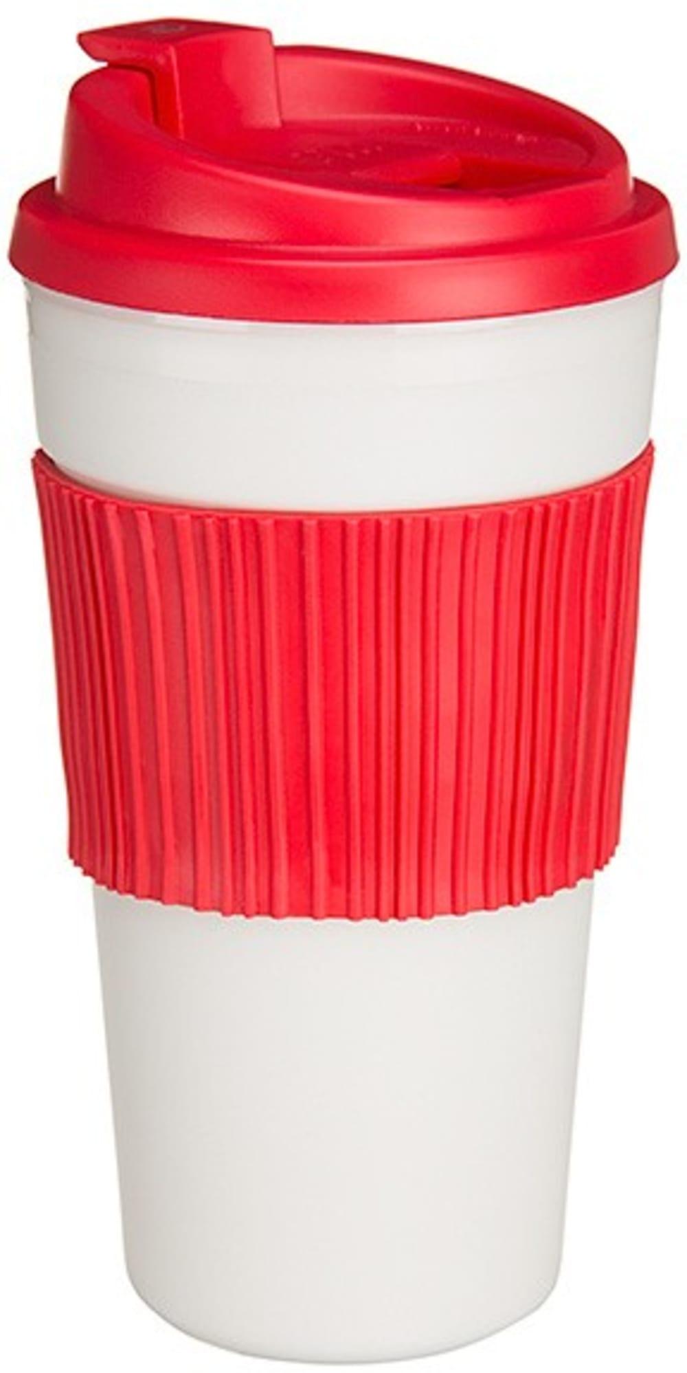 Termiczny kubek z odwracalną opaską-czerwony, duży