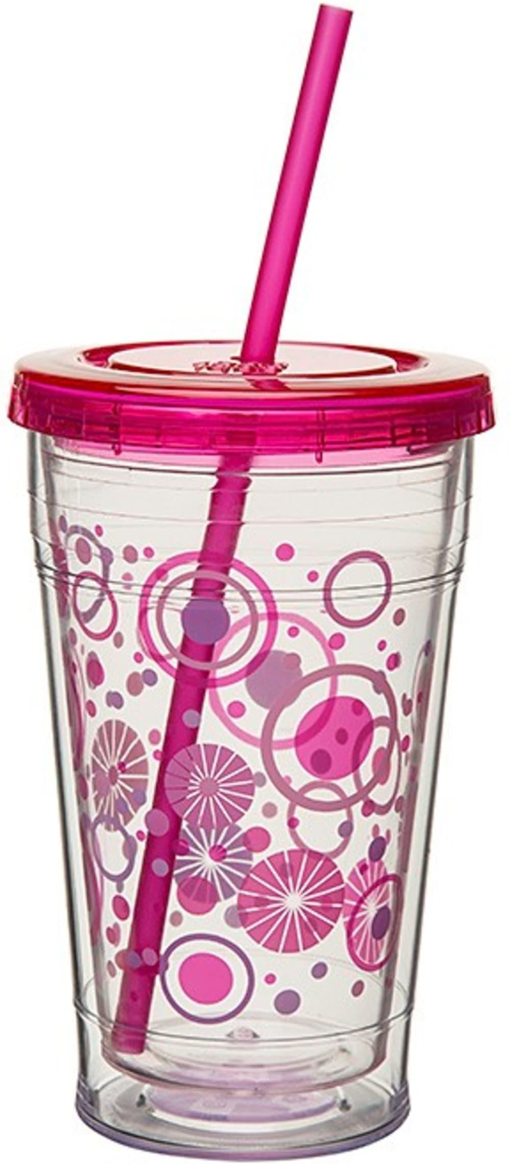 CG-Chiller przeźroczysty z motywem + słomka,różowy