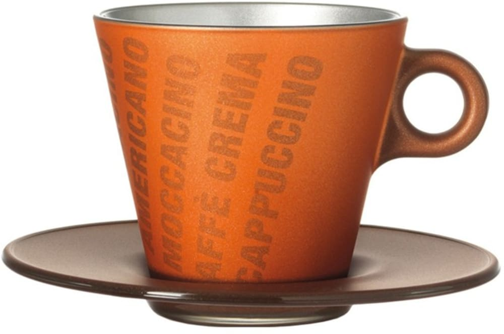 LO-Filiżanka+spodek,brązowy metalik,grafika Magico