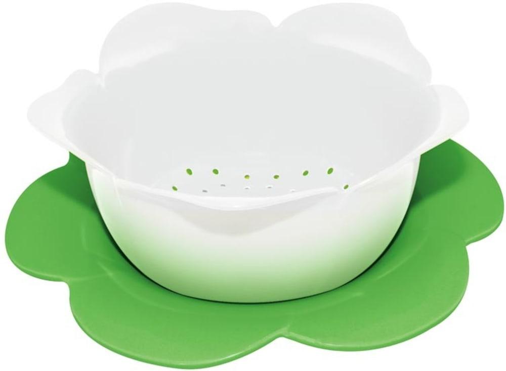 Zak! - Durszlak z podstawką, biało-zielony, średni