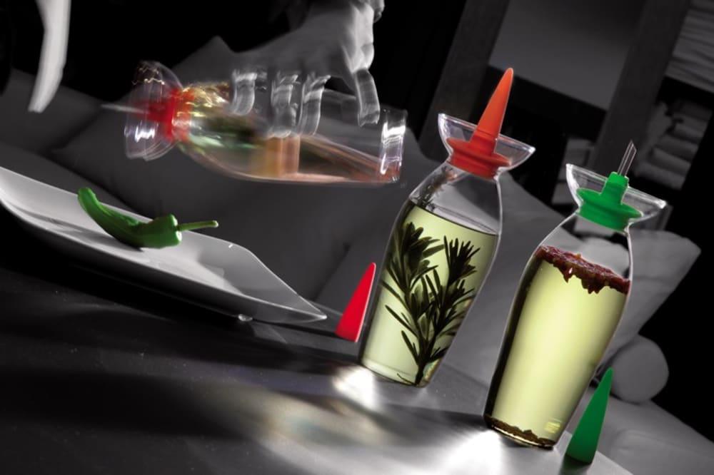 LEGNO - Butelka na oliwę z dozownikiem, ciemny