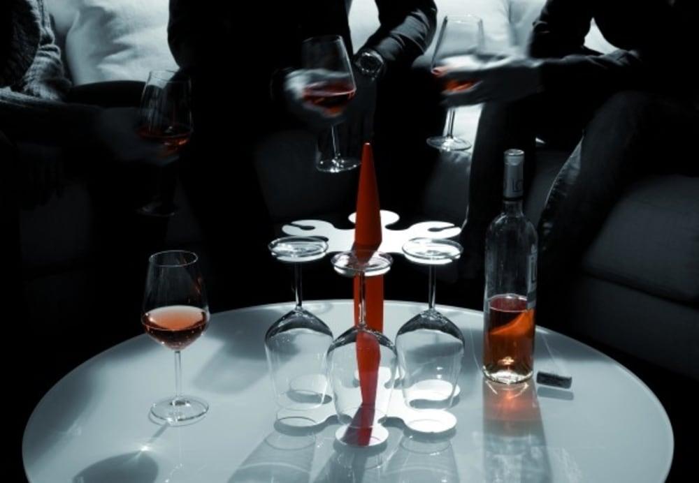 FELIX stojak + 6 kieliszków do wina, czarny,bez op