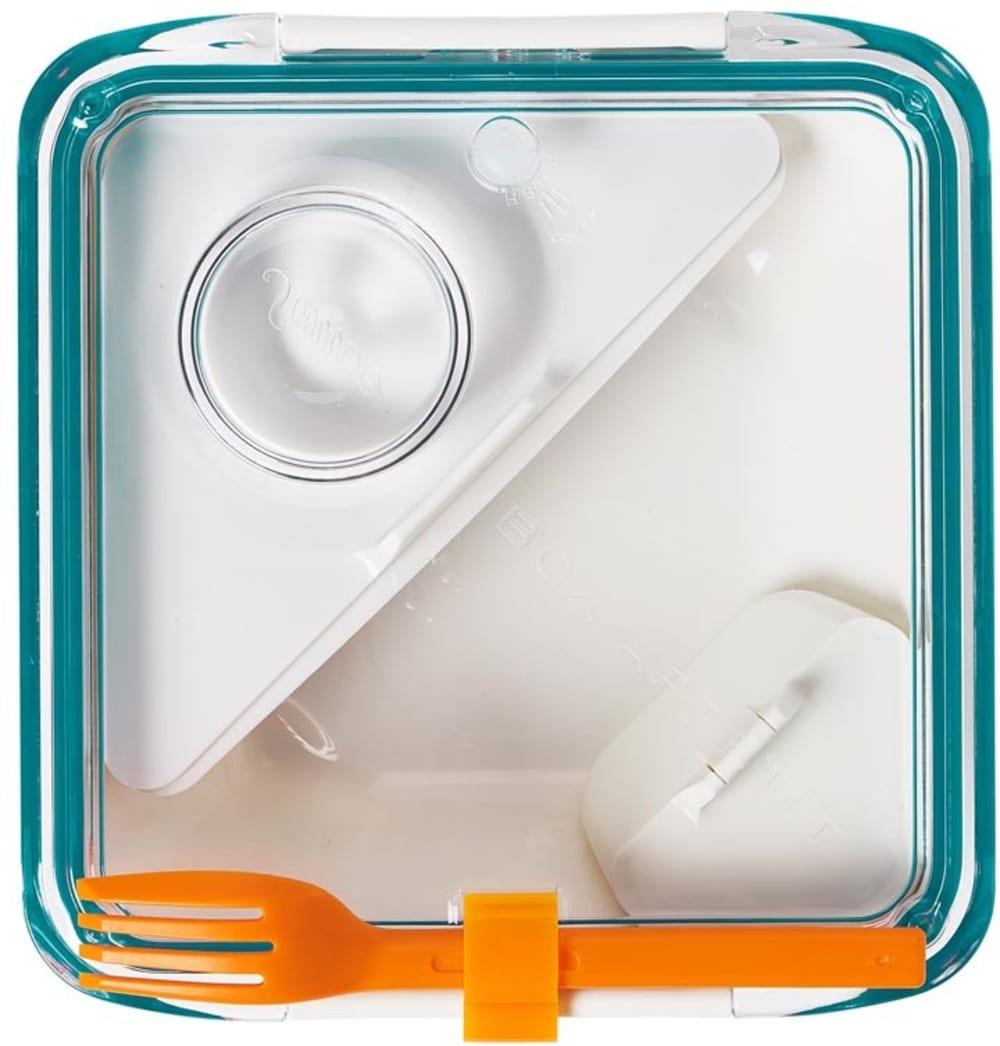 Lunchbox pojemnik na śniadanie, kwadratowy Appetite niebiesko-biały Black+Blum
