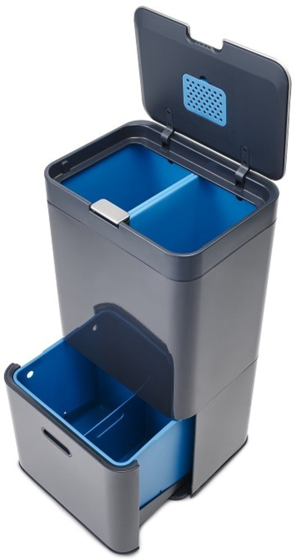 Kosz TOTEM 58l grafitowo-niebieski Intelligent Waste JOSEPH JOSEPH