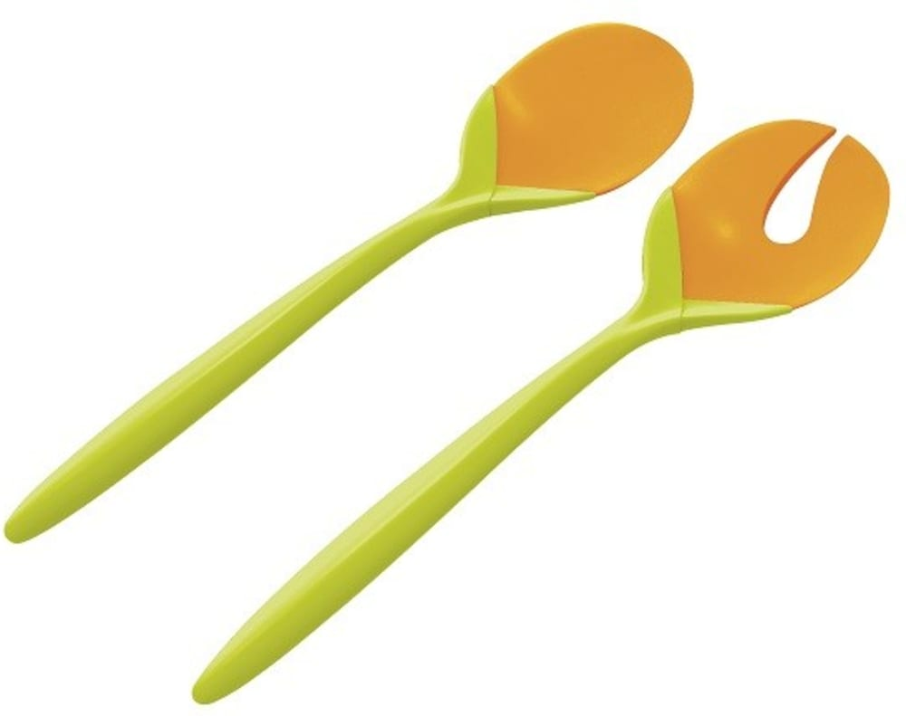 Zak! - Sztućce do sałaty, zielono- pomarańczowe