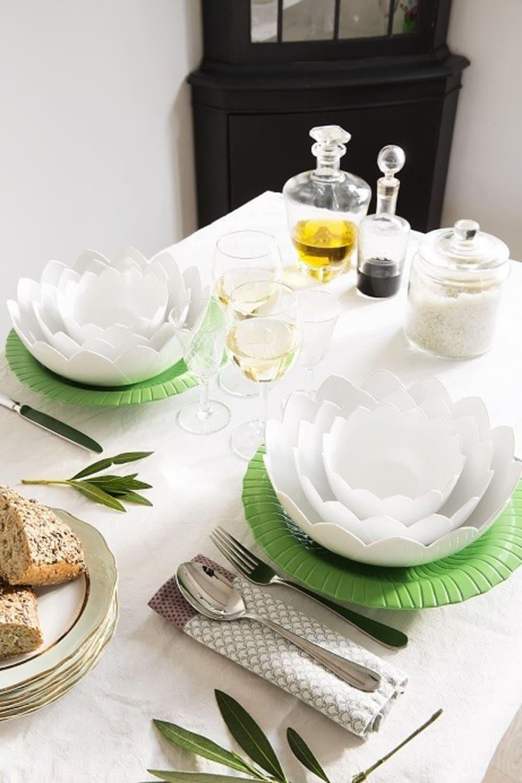 Zak! - Zestaw misek z podstawką Lotus, ziel.-biały