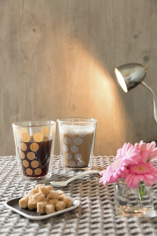 Zestaw 2 szklanek 200ml z łyżeczkami,srebrny